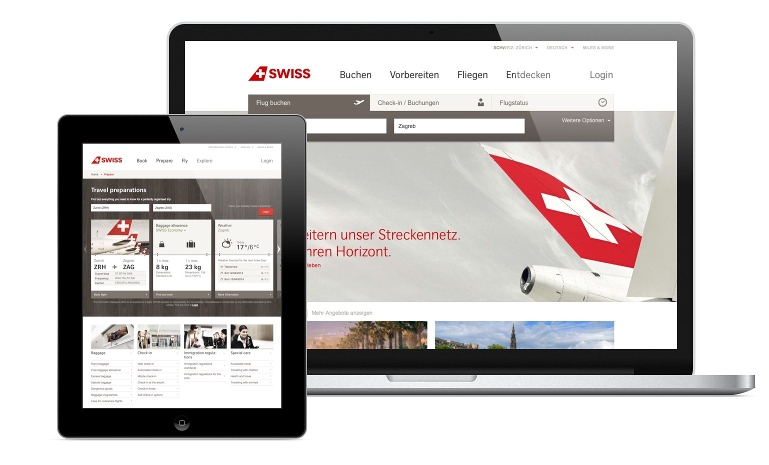 Screenshots of the Swiss.com website on different devices showcasing the responsive design