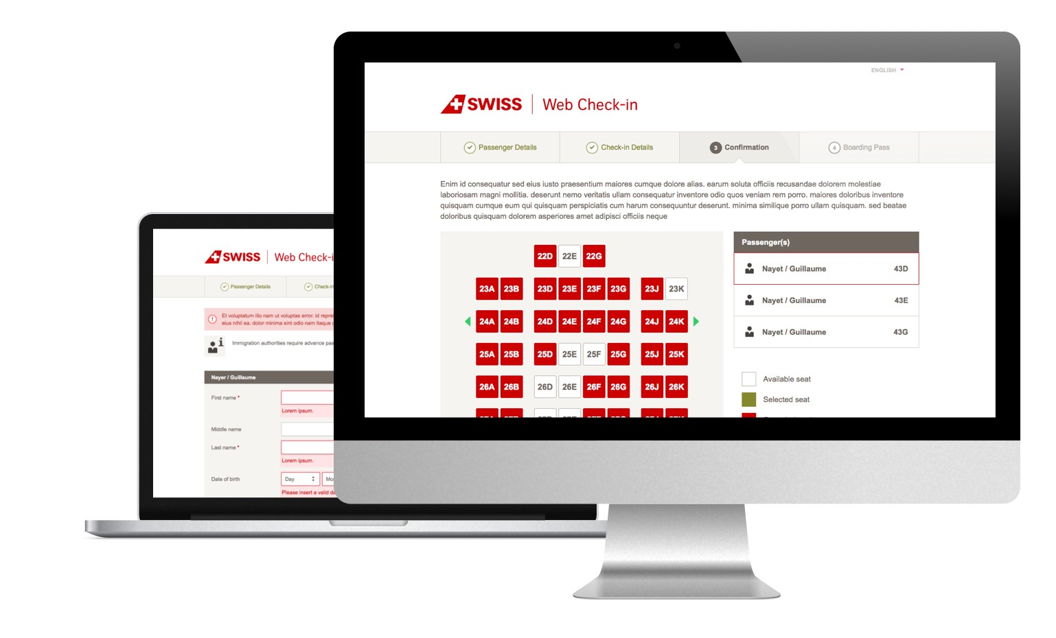 Screenshots of the Swiss.com Web Check-in website on different devices showcasing the responsive design